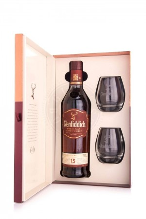 Glenfiddich 15 years Single Malt Scotch Whisky + 2 glazen